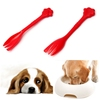 Beautiful Design 1PCS Red Pet Feeding Fork Tin Food Mixing Spoon For Dog Puppy for Cat Kitty 7.5Inch Durable