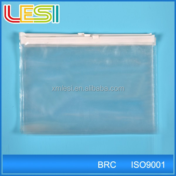 Recloseable Clear plastic waterproof zipper bag for Garment suit underwear packaging bag with custom free printing Xiamen
