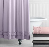 European Classic Retro Solid Color Small Pleated Shower Curtain, Wooden Ear Ruffled Waterproof Decorative Shower Curtain/