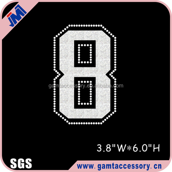 Wholesale Jersey number 8 Glitter Rhinestone transfer design for T-shirt