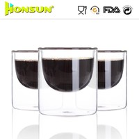 Lower quantity customized handcrafted nice 450cc double wall coffee glass cup