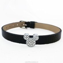 Silver Metal Luxury CZ Rhinestone Mickey Mouse Head Slide Charms For Leather Bracelets
