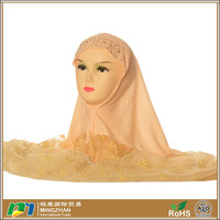 Jersey Cotton Sequin Off-White Muslim Arab Scarf Hijab for Women