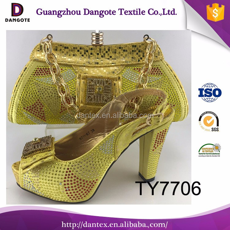 New fashion latest design ladies handbag/yellow shoes and matching bag african shoes and bags for dress TY7706