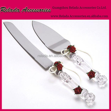 Faux Crystal Handle and Fabric rose flower Wedding Party Cake Knife Server Set