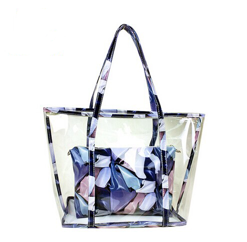 Most popular branded floral pvc female handbags