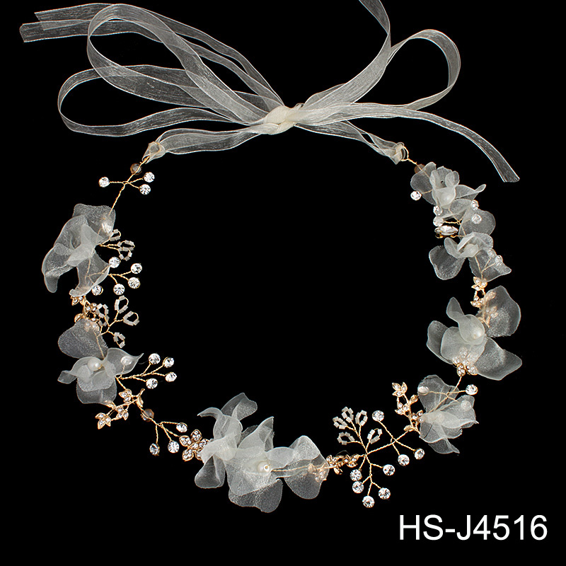 Wedding Bridal <strong>Headband</strong> with Lace Ribbon Bridal hair accessory Wedding Headpiece for Women and Girls