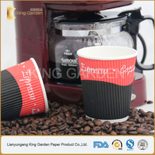 Take away corrugated wall custom paper cup with lid