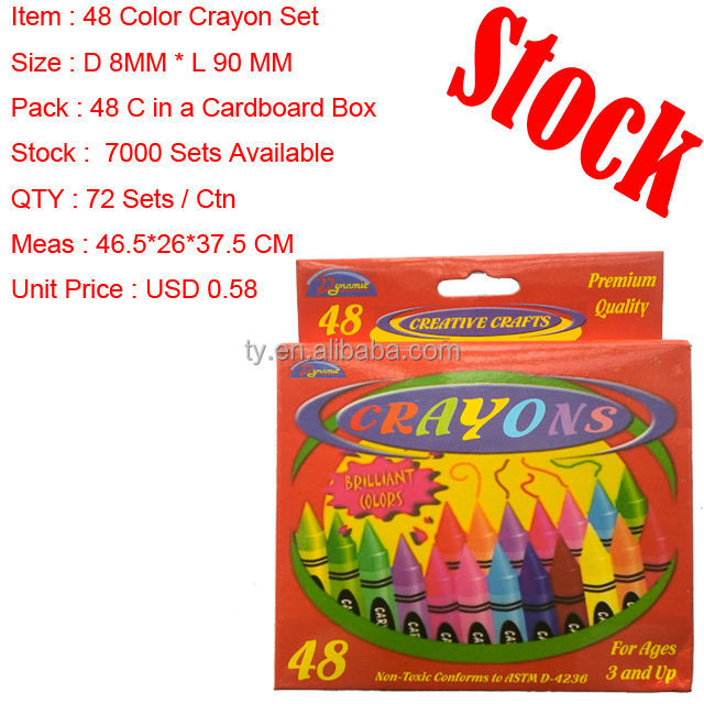 48 COLOR SET IN CARDBOARD BOX PACKAGE STOCK CRAYON