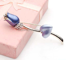 hot selling magnetic metal purple rose brooches