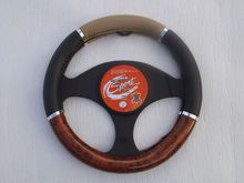 BEIGE BLACK WALNUT LEATHERETTE STEERING WHEEL COVER