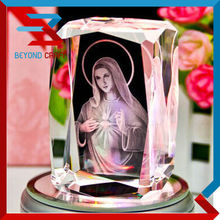 3d laser etched crystal decoration,Blessed Virgin Mary