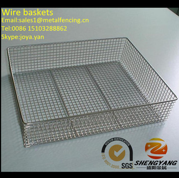 Medical usage stainless steel mesh baskets acid resistance sterile storage baskets disinfecting wire baskets with handles