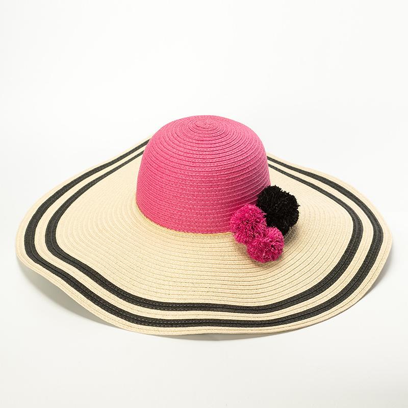 0e72e3af8dd Women Girl Summer Fashion Striped Paper Straw Large Brim Floppy Beach Sun  Visor Hat with Raffia Pom Pom Ball