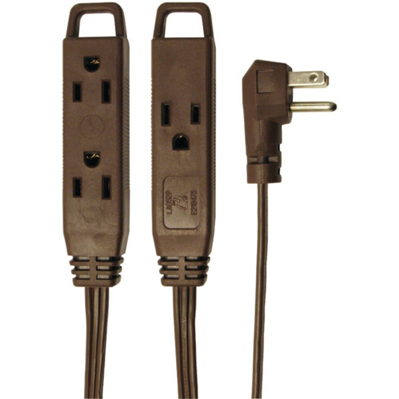 Right Angle 3 outlet flat plug polarized extension cord