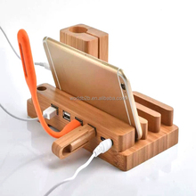 Universal Bamboo 4-Port Charging Station & Docking Organizer for Smartphones & Tablets, Family-Sized