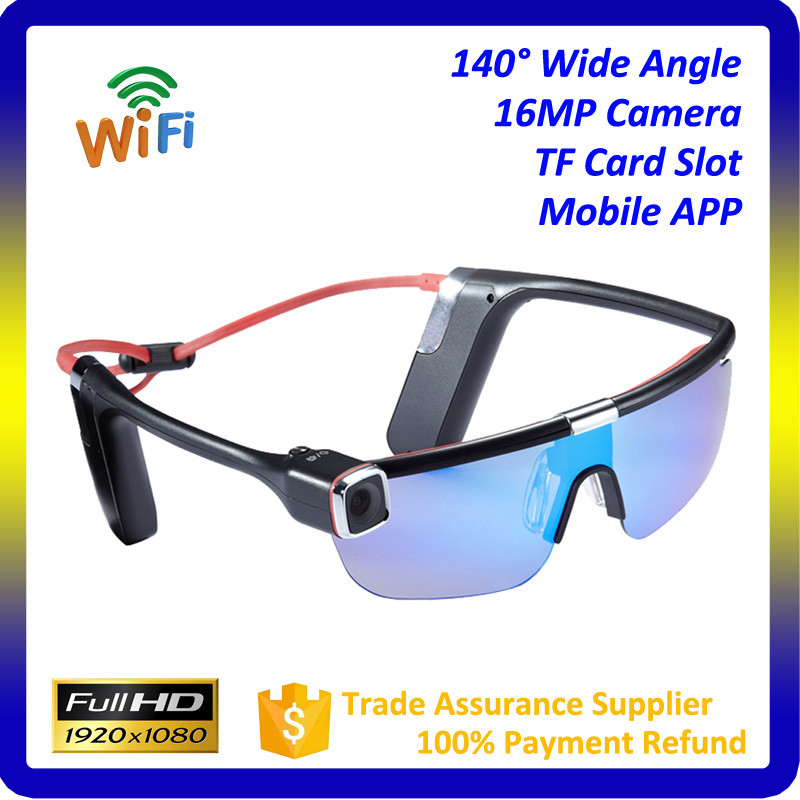 140 - degree wide Angle lens 2.4G Remote Wi-fi synchronization cellphone 1080P HD wearable sports glasses camera