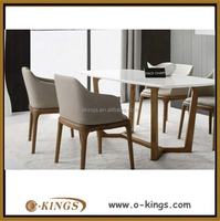 Modern dining set, round teak wood dining table and chair