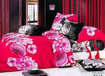 red flowers design black queen bed quilt comforter duvet cover sets 4pc