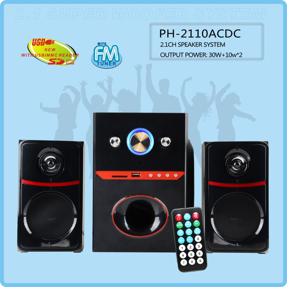 home theater 2.1 speaker, 2.1 Computer speakers with USB SD Port and FM Remote control