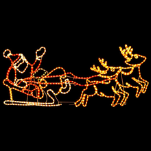 Christmas Lighted Animated Displays LED Santa in Sleigh and Reindeer Outdoor Decoration