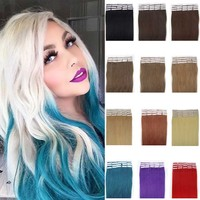 Ali Trade Assurance Paypal Accepted Soft Smooth Grade 8A European Remy Hair Tangle Free No Shedding Blue Tape Hair Extensions
