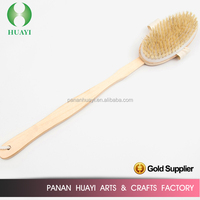 OEM long wooden handle bristle clean body brush