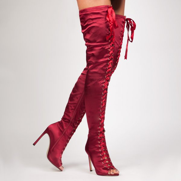 2017 new Sexy boots Burgundy Ribbon Lace Up Over The Knee Peep Toe Boot Satin upper Women long boots