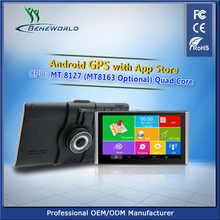 7 inch mediatek gps navigator with android 4.4 system, big camera dvr