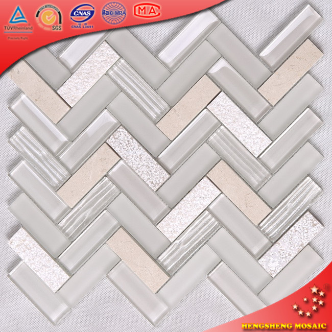 HYM154 Herring Bone Fish Scale Tree Wooden Pattern Glass Mix Stone Mosaic Tile