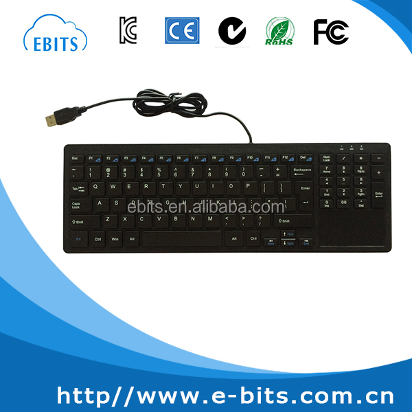 Black white customized color standard USB wired keyboard with touchpad for windows pc