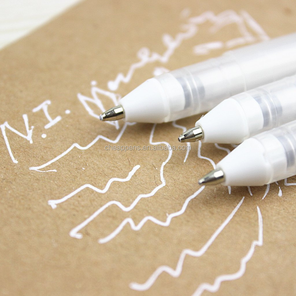 12-Piece White Gel Pen Set, 0.8mm line, Fine Tip Gel Pen Drawing Stationery For Decorative Diary Card Marking DIY