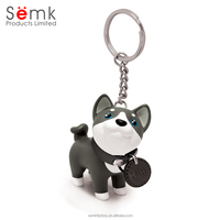 High quality Promotional cute cartoon 3d dog animal pvc keychain