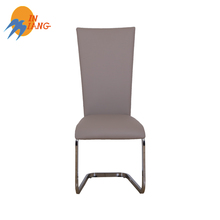 Wholesale Modern chrome steel pu leather upholstered bow shape dining chair