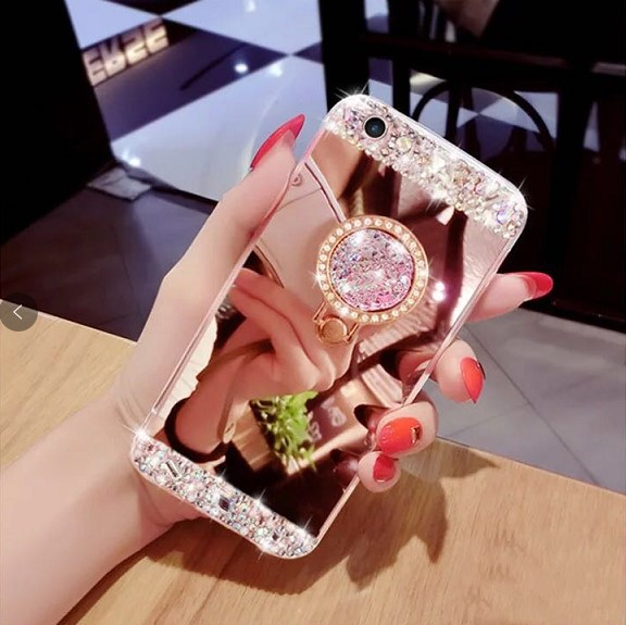 Rose Gold glitter Mirror Mobile Cover Diamond Ring Holder Phone Case for huawei P30 pro lite Y6 Y7 Y9 2019 , <strong>p</strong> smart 2019