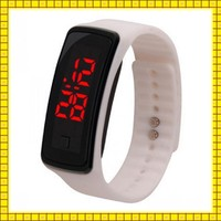 sport newest colorful 12 colors digital red light silicon bracelet led watch