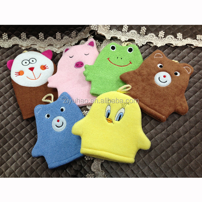 Wholesale cotton terry cloth baby bath cleaning mitts,kids exfoliating bath mitts