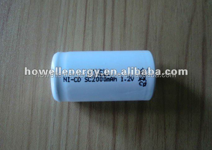 Sub C 2000mAh Ni-Cd battery for power caddy