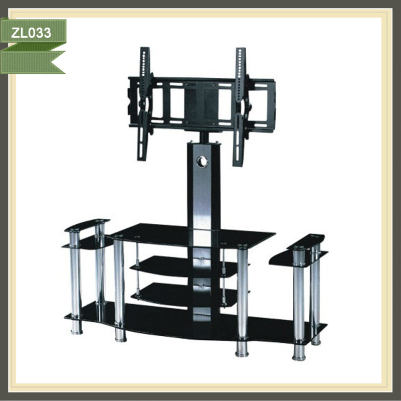 motorized swivel mickey mouse tempered glass metal and wood tv stand