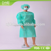 Soft comfortable disposable PP nonwoven surgical gown with long sleeves