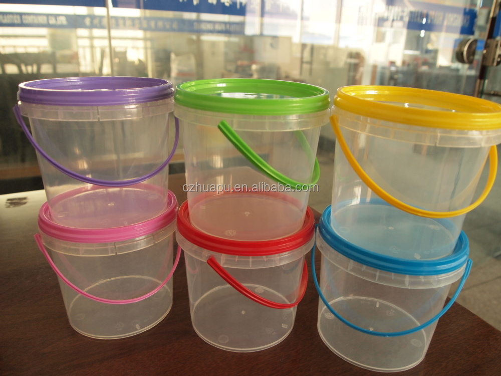food grade 1liter small plastic bucket and container with lid