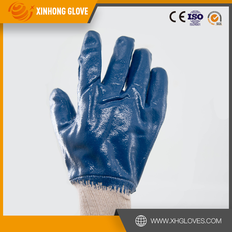 black and orange color nitrile Chemical glove oil resistant industrial latex rubber work gloves