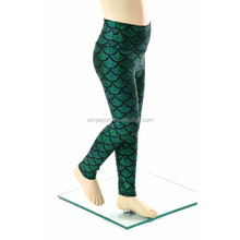 Kids EMerald Green Mermaid Scale Leggings Custom Sublimation Leggings for Girls