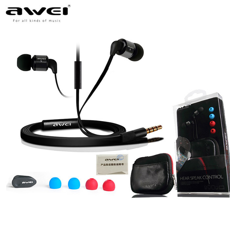 Quality Awei ES600i Earphone In-Ear Super Bass Stereo with Microphone Original Ear Bag Earcap for iPhone/iPOD/Android Samsung