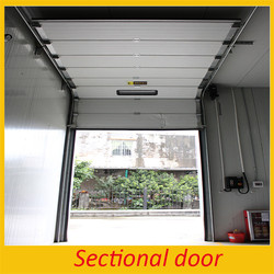 PU Panel Overhead Insulated Electric Lift Steel Door with Manual Chain When Power off