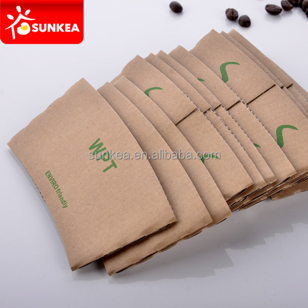 Disposable printed paper custom hot coffee cup sleeve