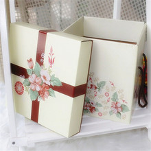 Custom Square Color Large Gift Cardboard Cake Boxes with Handle