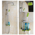 Colourful baking Varnish bath& shower rotate faucet set with ABS plastic rain shower head &hand shower