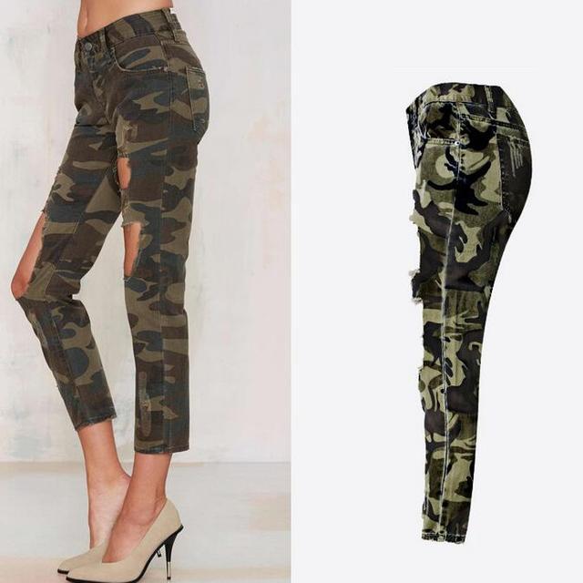 B11848A women's camouflage hole pants sexy lady ninth jeans