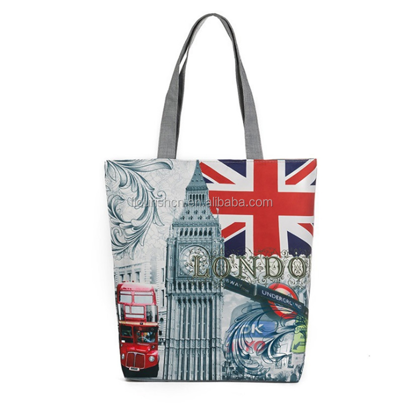 Large Women's London British Flag Canvas Shopping hand bags